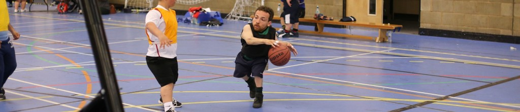 Joan playing basketball in the UK